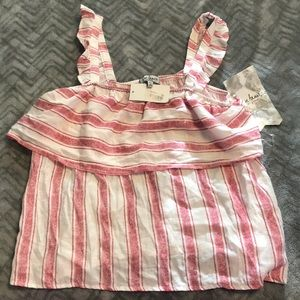 Macy's White and red striped tank top - large